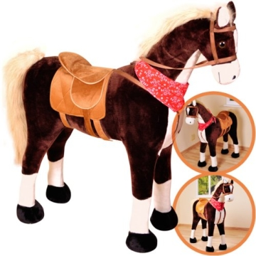 Großes XXL Standpferd Liana mit Sattel Braun Pferd Stehpferd Reitpferd Reiten - 1