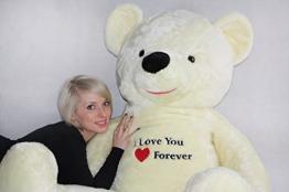 Riesen Teddybär Plüschtier Stofftier mit Stickerei weiß 170cm groß - 6