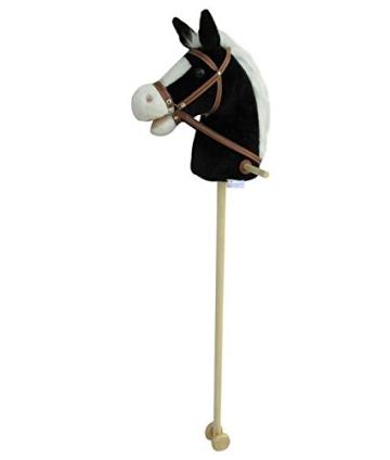 Steckenpferd BLACKY super-süss, Sweety-Toys,Farbe schwarz mit weißer Mähne -sehr edel- mit Funktion. Ohr drücken, Galopp und Pferdegewieher erklingt ,Größe ca.100 cm Top Qualität mit Haltegriffen und Laufrollen aus Holz - 1