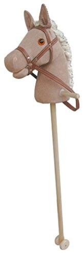 Steckenpferd CORDY Material Cord Baumwolle Cotton super-süss, Sweety-Toys,sehr edel- mit Funktion. Ohr drücken, Galopp und Pferdegewieher erklingt ,Größe ca.100 cm Top Qualität mit Haltegriffen und Laufrollen aus Holz - 1