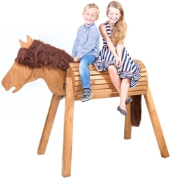 Holzpferd (Voltigierpferd) zum Draufsitzen / Reiten | Riesen Kinder Spielpferd XXL handgefertigt in Deutschland | Top Qualität von Wildkinder | Wetterfeste Lasur mittelbraun mit dunkelbrauner Mähne - 1