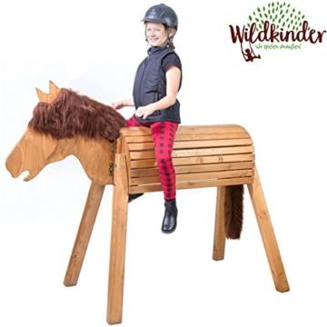 Holzpferd (Voltigierpferd) zum Draufsitzen / Reiten | Riesen Kinder Spielpferd XXL handgefertigt in Deutschland | Top Qualität von Wildkinder | Wetterfeste Lasur mittelbraun mit dunkelbrauner Mähne