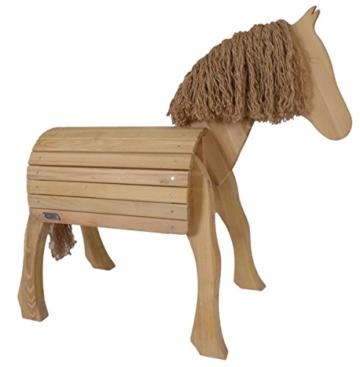 Kinder-Voltigierpferd 7032 | Holzpferd aus Robinienholz | Outdoor- Spielzeug | für Draussen geeignet | mit Mähne und Pferdeschwanz | wohlgeformte Beine - 1
