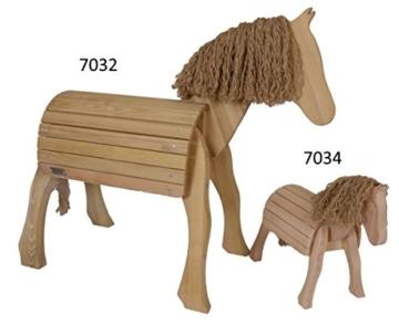 Kinder-Voltigierpferd 7032 | Holzpferd aus Robinienholz | Outdoor- Spielzeug | für Draussen geeignet | mit Mähne und Pferdeschwanz | wohlgeformte Beine
